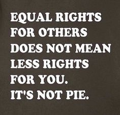 Equal rights for others does not mean less rights for you. It's not pie