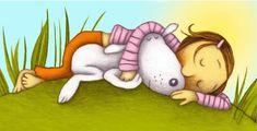 sleeping girl and dog (by Paula Metcalf)