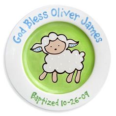 """Loveable Lamb"" Personalized Baptism Plate (Boy)"