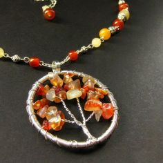 Carnelian Tree of Life Necklace - Fiery Autumn Leaves Wire Jewelry, Jewelry Crafts, Handmade Jewelry, Jewelry Ideas, Tree Of Life Jewelry, Tree Of Life Necklace, Cool Necklaces, Beaded Bracelets, Diy
