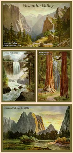Paintings by Chris Jorgensen (1856-1935). He was born in Norway and came to San Francisco in 1869. He first visited Yosemite in 1898. Jorgensen maintained a seasonal residence and studio in the valley from 1900 through 1918. Available for purchase as quilt blocks in various sizes on oldeamericaantiques.com. Free shipping for orders over $100.