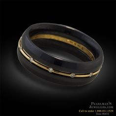 Steven Kretchmer Men's Diamond and Gold Wedding Ring from Pearlmans Jewelers