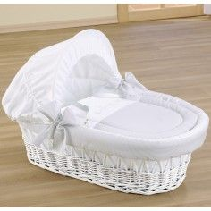 Portable moses basket in delicate design and with a foldable hood. Basket made of sturdy white wicker material with solid leader ha Baby Baskets, Baskets On Wall, Cradles And Bassinets, Baby Cradles, Crib Accessories, Baby Dolls, Rattan, Dolls Prams, Moses Basket