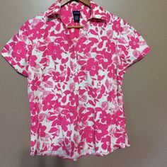 Pink summer button up Flowered button up never worn great for summer Basic editions  Tops Button Down Shirts