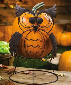 Take a look at this Owl Pumpkin Stand by Evergreen on #zulily today!