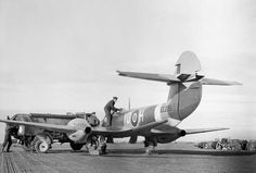 Ground crew refuelling Gloster Meteor F Mark III, EE236 'YQ-H', of No. 616 Squadron RAF, at Manston Kent.