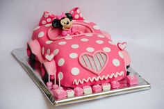 Pink polka dot car cake w/ Minnie Mouse inside Mini Mouse Cake, Minnie Mouse Birthday Cakes, Minnie Cake, Mickey Cakes, Mickey Mouse Cake, Birthday Cake Girls, Mickey Birthday, Happy Birthday, Birthday Parties