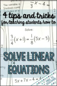 Learn 4 tips and tricks for teaching middle school and high school math students how to solve linear equations. My students love this unit when we add a little humor and make learning relevant and meaningful. By Free to Discover. Online Math Courses, Learn Math Online, Online Quizzes, Solving Linear Equations, Middle School, High School, 8th Grade Math, Eighth Grade, Seventh Grade