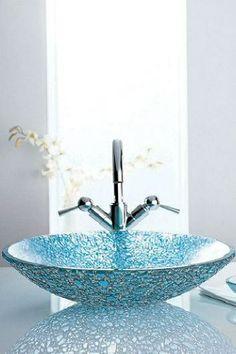 Glass vessel sinks- a must for my modern bathroom Modern Bathroom Sink, Modern Bathroom Design, Bathroom Fixtures, Bathroom Ideas, Bathroom Sinks, Costal Bathroom, Master Bathroom, Downstairs Cloakroom, Narrow Bathroom