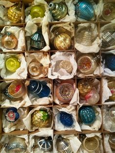a beautiful boxed array of authentic antique ornaments in such sheer glass, & delicate tones ~ photo heather ross
