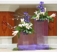 Church Flower Arrangements, Church Flowers, Floral Arrangements, Church Altar Decorations, Flower Decorations, Wedding Decorations, Fused Glass Bowl, Nylon Flowers, Cascade Bouquet