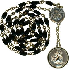 Elegant Black Glass Chaplet of St. Anthony from vintage-venerations on Ruby Lane
