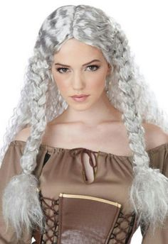 White-and-Grey-Viking-Princess-Long-Curly-Costume-Wig-with-Braids