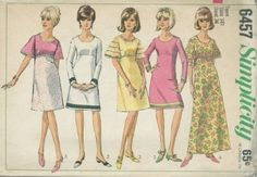 An original ca. 1966 Simplicity Pattern 6457.  Teens' and Juniors' One-Piece Dress in Two Lengths: Dress with scooped neckline and back zipper has an A-line skirt, empire waistline and set-in sleeves. V. s1, 2, 3 & 5 are regular length. V. 4 is ankle length. V.s 1 & 2 have long sleeves. V.s 3, 4 & 5 have short bell sleeves. V. 1 has contrasting ribbon trim. V. 2 has braid trim. V. 3 has lace edging trim. V.s 4 & 5 have lace edging or braid trim. V. 5 has contrasting skirt.