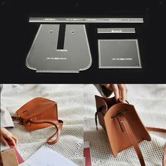 DIY Shoulder Bag Acrylic Leather Craft Template Pattern Stencil Tool DIY - Decoration Fireplace Garden art ideas Home accessories Leather Gifts, Leather Bags Handmade, Leather Craft, Leather Crossbody Bag, Leather Handbags, Couture Cuir, Leather Bag Pattern, Backpack Pattern, Handbag Patterns