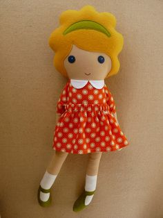 Fabric Doll Rag Doll Blond Haired Girl in Orange by rovingovine