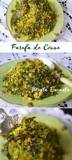 Farofa de Couve com ovos couve, manteiga e farinha de milho. Úmida, crocante ao mesmo tempo e para lá de saborosa. Verde e Amarela, brasileiríssima!