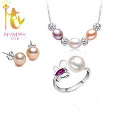 NYMPH Natural pearl jewelry sets 925 sterling silver jewelry freshwater Jewelry party gift for girls