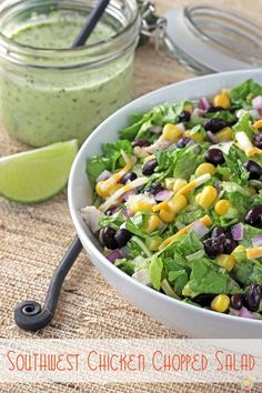 Southwest Chicken Chopped Salad - full of fresh flavor with a creamy jalapeno dressing
