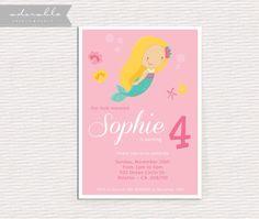 Under the Sea Mermaid Invitation Birthday by AdorablePrintables, $12.00