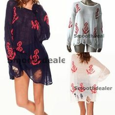 Korean Fashion Ladies Loose Hollow Red Anchor Print Hole Tops Pullover Sweater | eBay
