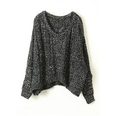 Black Round Neck Bat Sleeve Wool Blend Sweater (€45) ❤ liked on Polyvore featuring tops, sweaters, shirts, jumpers, round neck shirt, bat sleeve sweater, round neck sweater, batwing sleeve shirt and round neck top