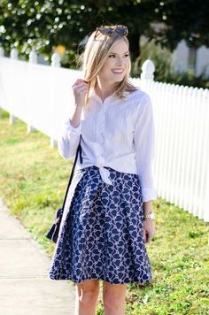 Emily Helm of Life with Emily in the Swiss Dot Scallop Elliot Shirt and Harpeth Jacquard Mid-Length Skirt | Draper James | Reese Witherspoon
