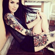 Tattoo photo - World tattoo gallery - Unknown artist. Love the theme going on from her arm to her tigh