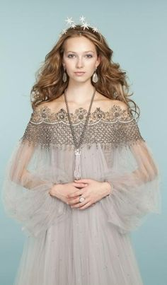 Pretty princess looks: Embroidered tulle dress from Marchesa // Jennifer Behr tiara // Pearl necklace by Misaki // Moonstone and diamond earrings from Sutra Jewels // KumKum Jewelry ring