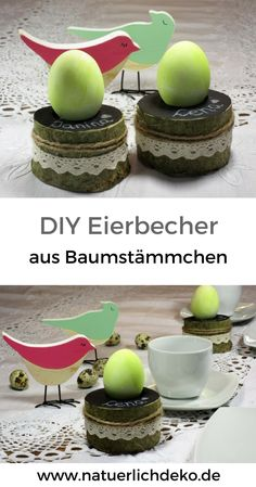 selbstgemachte eierbecher aus den st cken eines d nnen baumstamms mit tafellack bemalt a diy. Black Bedroom Furniture Sets. Home Design Ideas