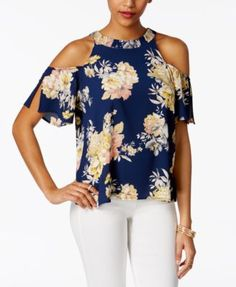 Lily black juniors printed cold shoulder top macys com Summer Blouses, Summer Tops, Fashion Advertising, Tunic Shirt, Blouse Styles, Casual Tops, Daily Fashion, Casual Outfits, Fashion Dresses
