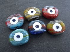 Black Purple Protective Jewelry Evil Eye Colored Glass Bead Copper Wrapped Rings 8mm Handmade Red Green Yellow Talisman -