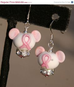 Think Pink Breast Cancer Awareness Disney Inspired Mickey Minnie Mickey Mouse Style SRA Lampwork DeSIGNeR Earrings on Etsy, $28.48