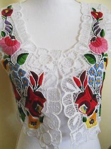 New-Hungarian-Kalocsa-Folk-Art-Hand-Embroidered-Richelieu-Vest-Waistcoat-Size-S
