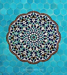 Arabesque tile mosaic at the Jāmeh Mosque of Yazd, Iran, c; Islamic Art Pattern, Arabic Pattern, Persian Pattern, Pattern Art, Art Et Architecture, Islamic Architecture, Beautiful Architecture, Motifs Islamiques, Motif Arabesque