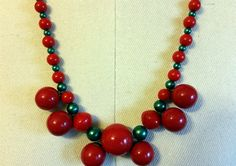 Red Cherry Faux Bakelite & Christmas Green Faux Pearl Necklace by NativeBliss on Etsy