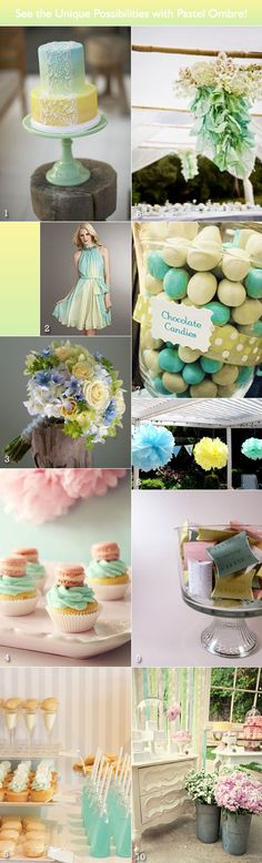 Ombre palette of seafoam green, yellow and blue - for a springtime wedding