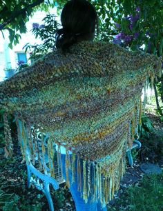 Hand-dyed, hand spun and hand knit shawl