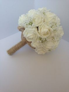 Wedding bouquet shabby chic rustic white by Lovefromlilywedding