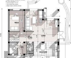 Proiect-casa-cu-Mansarda-18011-plan-parter Home Building Design, Building A House, Modern Tv Room, Bungalow Style House, House Design Pictures, Dream Home Design, Facade House, Design Case, My House