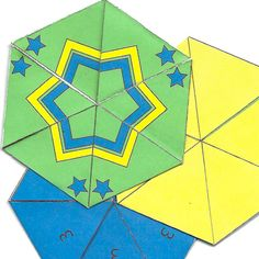 Free printable templates to make tri hexaflexagons.  Tri-hexaflexagon - patterned, plain and numbered