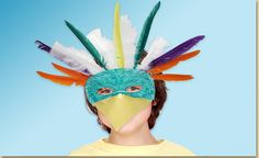 Decorate a plain plaster mask and turn it into a tropical parrot! Add colorful feathers and a paper beak and you're all set for a day of play!