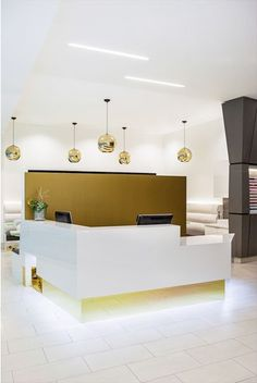 gold accent reception area beauty salon interior design
