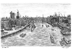 View of London from the turrets of Tower Bridge - drawings and paintings by Stephen Wiltshire MBE