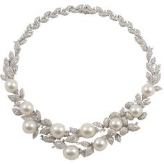 Diamond and Pearl necklace ❤ liked on Polyvore
