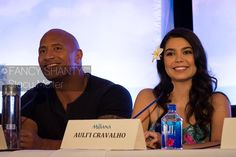Photos from the #Moana press conference: Dwayne Johnson (voice of Maui) & Auli'i Cravalho (voice of Moana)