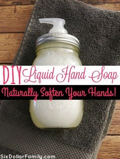 Commercial hand soaps dry my hands out so badly! This DIY Liquid Hand Soap nourishes and cleans them naturally!