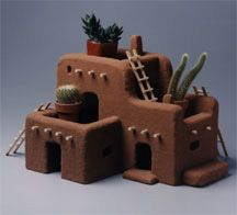Sand Adobe House Add southwestern flavor to your house with this pueblo made of STYROFOAMâ; great school project too. The post Sand Adobe House appeared first on School Ideas. Clay Houses, Ceramic Houses, Miniature Houses, Ceramic Clay, Fimo Clay, Pueblo House, Styrofoam Crafts, Kitsch, Pottery Houses