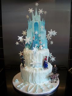 Disney Frozen Themed Cake with Edible Elsa's Castle ..please feel free to join me on my fFacebook page Tottallyoffmycake