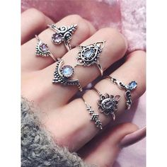 Silver Knuckle Rings Ethnic Style Embossed Hollow Out Gems 7 Pieces Ring Set & Jewelry & Watches > Women's Jewelry > Rings Ring Set, Ring Verlobung, Bohemian Rings, Bohemian Jewelry, Vintage Bohemian, Retro Vintage, Vintage Style, Hippie Rings, Vintage Hats